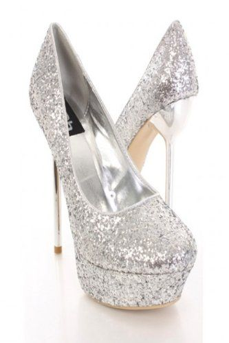 8ede1614bbe7 £32.00 Shoehorne Amber-07 - Womens Sexy Silver Sparkling Glitter Mirror Stiletto  High Heeled Platform Party Court Shoes Pumps - Avail in Ladies Size 3-8 UK:  ...