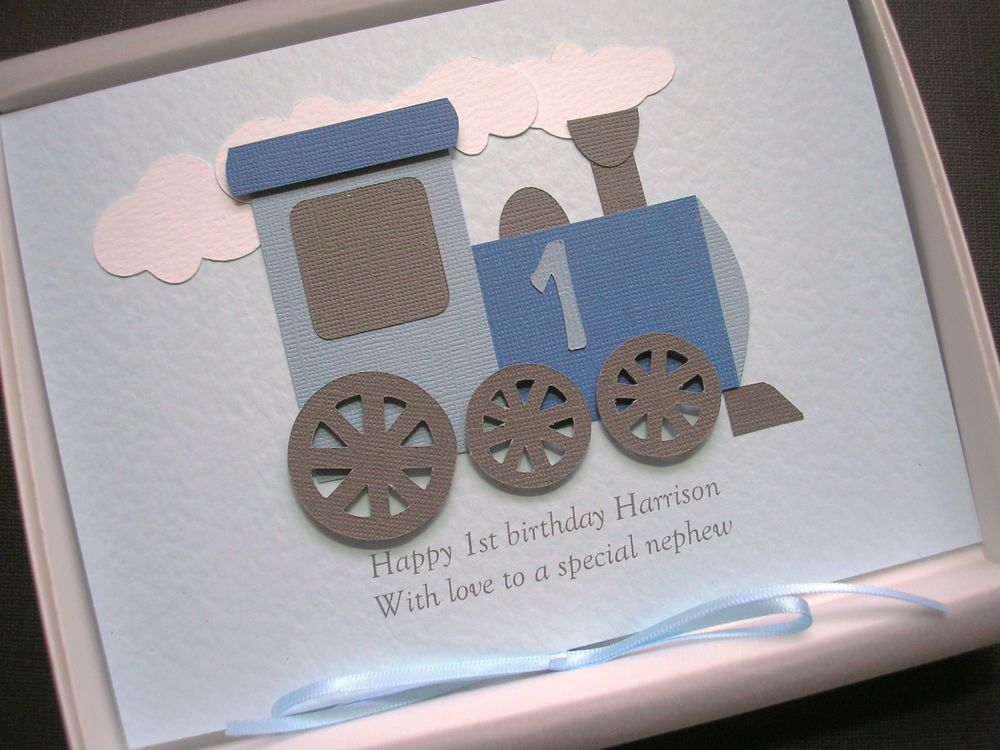 1st FIRST BIRTHDAY CARD For BOY Or GIRL Handmade Personalise The Name Gift Boxed