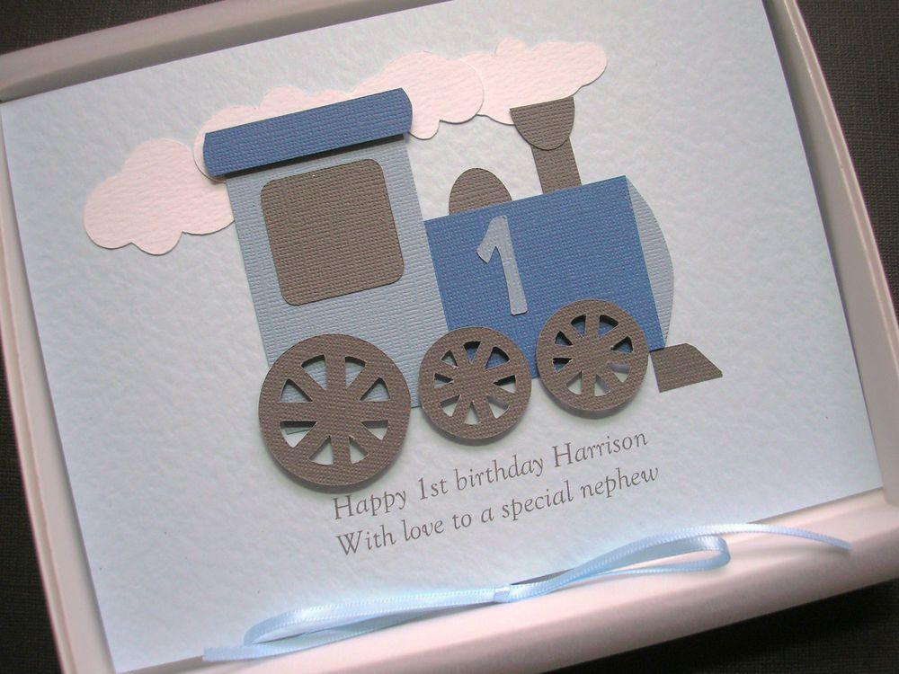 1st first birthday card for boy or girl handmade