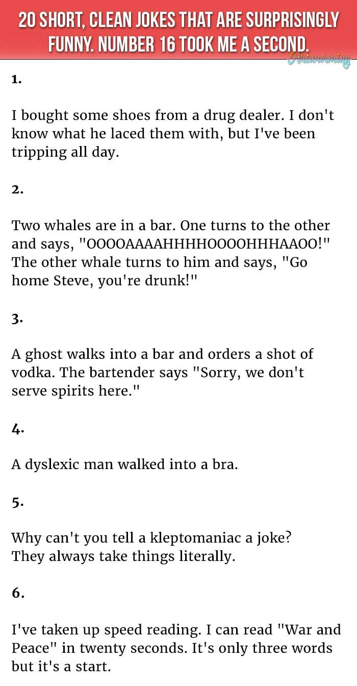 Image of: Short Stories 20 Short Clean Jokes That Are Surprisingly Funny Youtube 20 Short Clean Jokes That Are Surprisingly Funny Stop It Youre