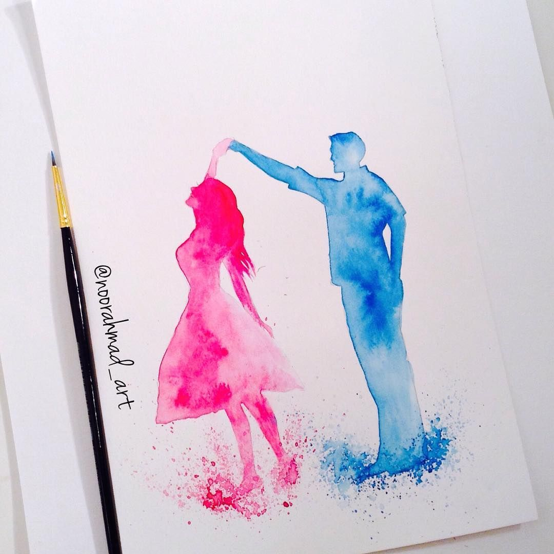 ancing couple 💕 #watercolour #painting #romantic #cute #couple #dancing #pink #blue #simpleart #drawing #sketch #artshelp #arts_help