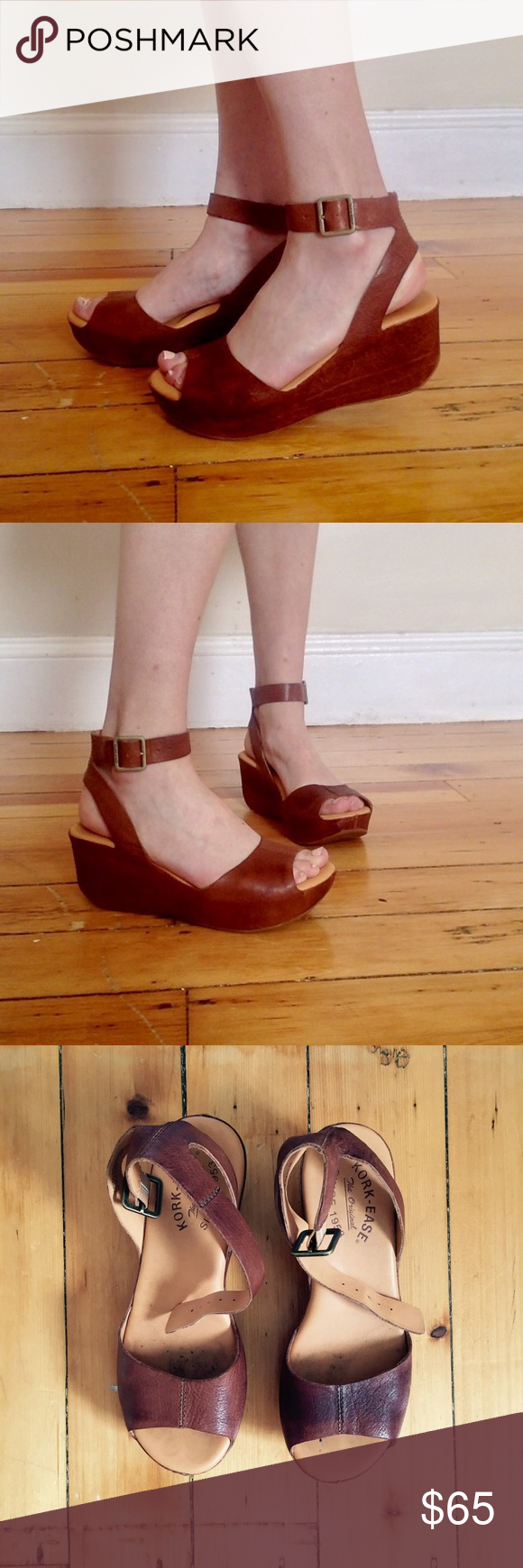 8a1ff072117 Kork-Ease Carolyne Platform Wedge Sandals in Rust Leather platform wedge  sandals in rich brown from Kork-Ease. They look great with summer dresses  and ...