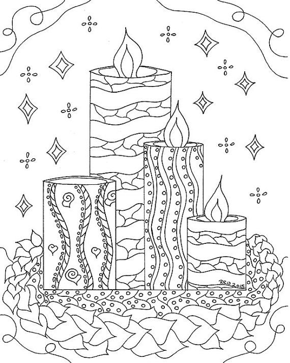 Adult Coloring Pages, Christmas Coloring, Instant Download