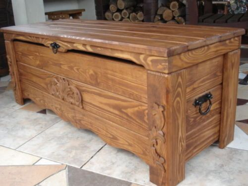 Cassapanca in legno massello / tavolino da soggiorno / baule - beata ...