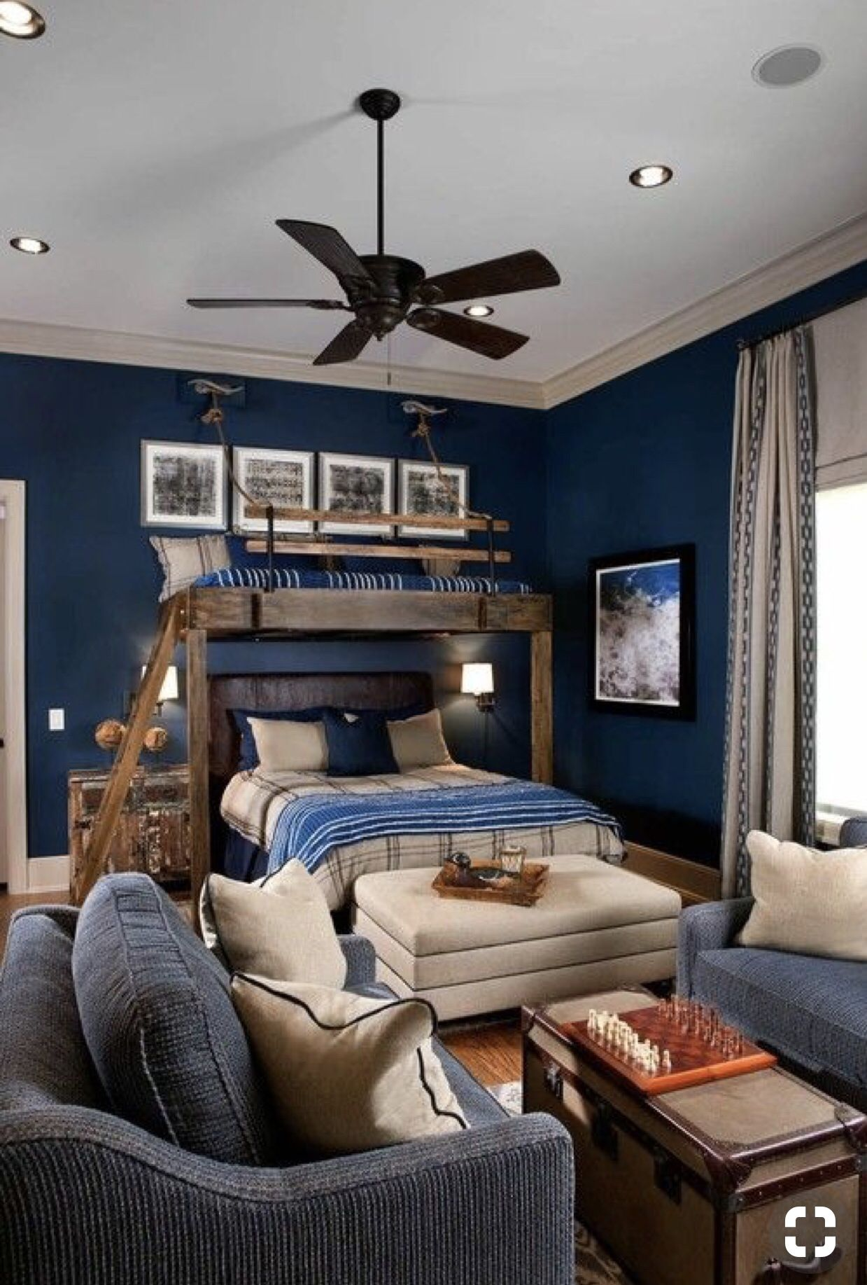 Inviting Navy Blue Boys Bedroom With Full Size Bottom Bunk Bed And