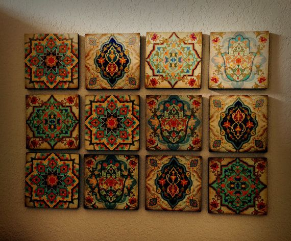 Hamsa Hand Moroccan Wall art Set Blocks 8x8 Set of 4 Best home decor gift  hamsa hand art Moroccan wall art old moroccan blocks spanish gift