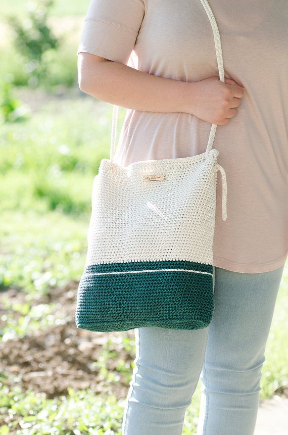 Crochet bag #MyLovelyBag Dublin forest green and cream with rope handles by MyLovelyHook