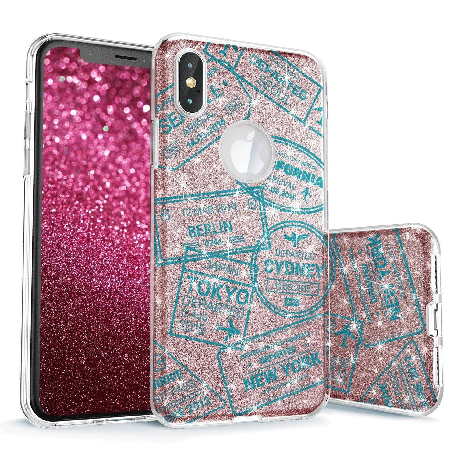 Passport Visa Stamps Teal on Rose Gold Glitter Case for