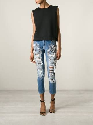9c23b265 Marco Bologna crystal embellished distressed jeans | Fashion in 2019 ...