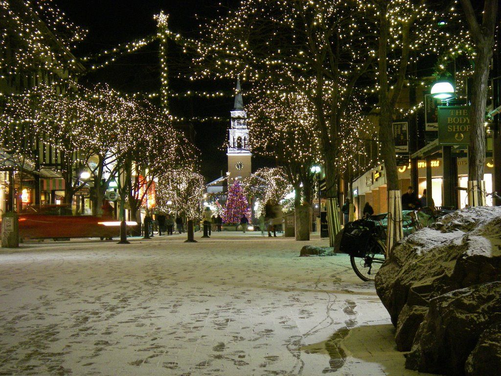 Christmas Snow On Church Street Burlington Vt