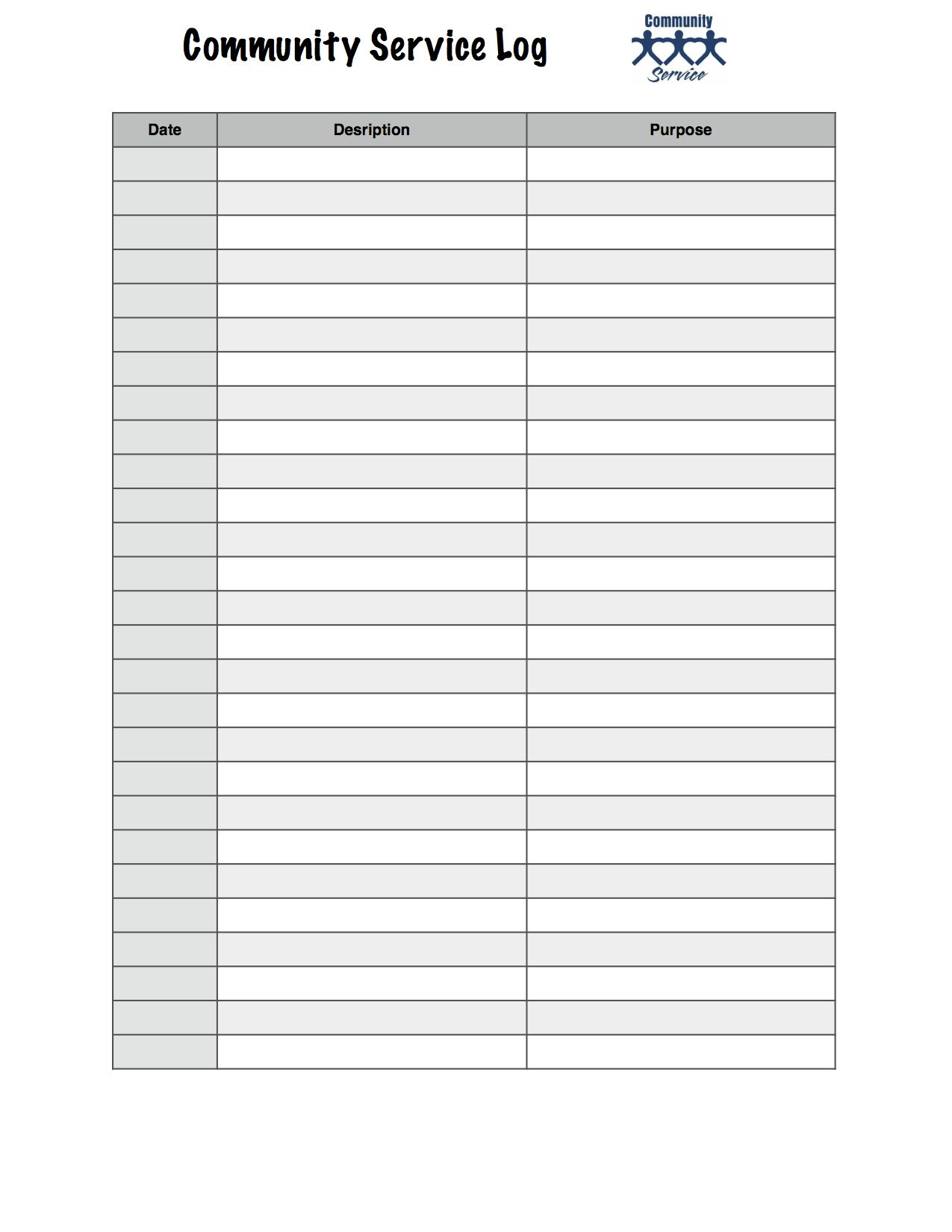 Worksheet I Made Up For Keeping Track Of Community Service