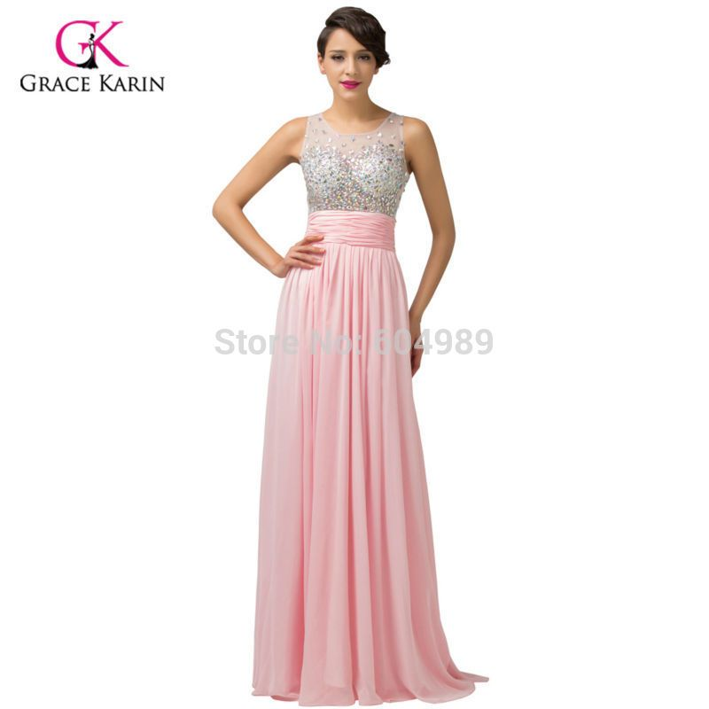 Grace Karin Pink Chic Long Beaded Evening Dress Formal Party Pageant ...