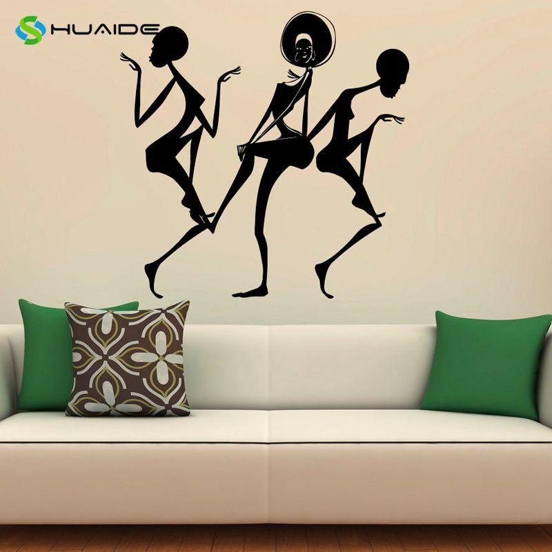 Africa Africano Dancing Girl Decalcomania Della Parete Del Vinile ...
