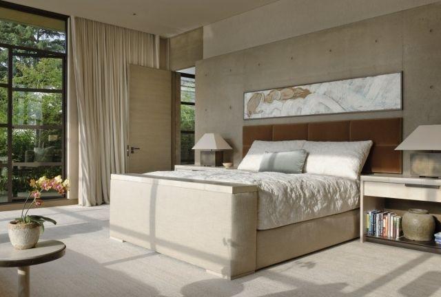 Schlafzimmer Modern Creme Beige Fensterfront