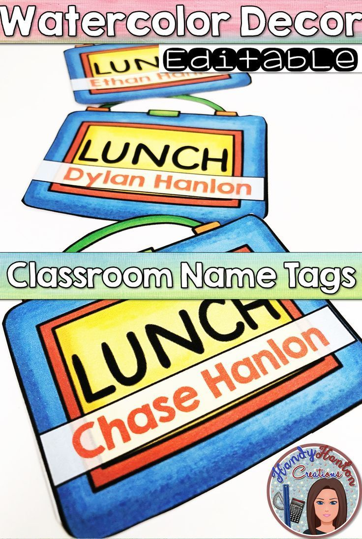Watercolor Classroom Decor Name Tags -
