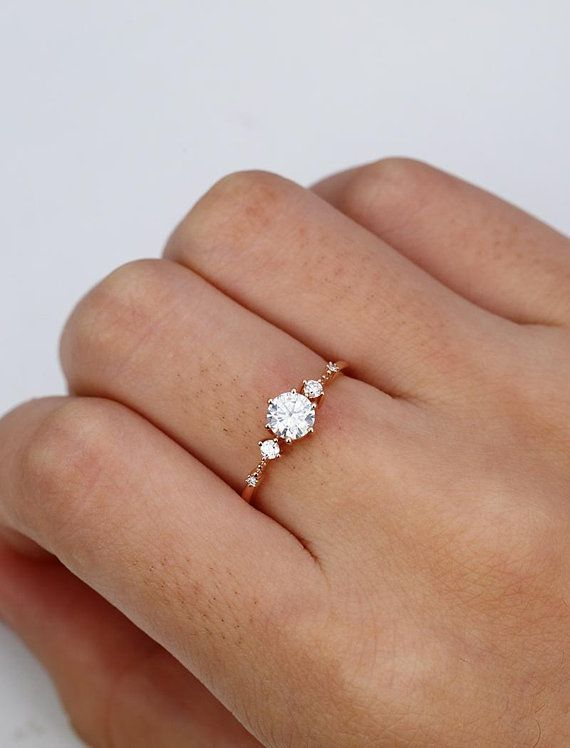 Photo of 5mm Moissanite Engagement Ring Vintage Unique Diamond Cluster Ring White Gold Wedding …