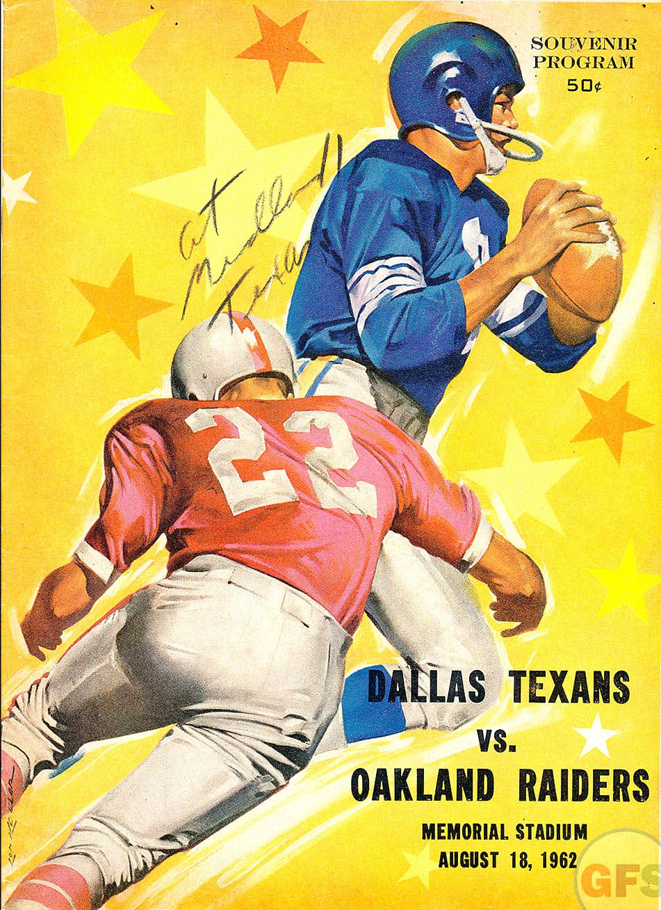 1962 AFL Preseason Game Program Dallas Texans vs. Oakland Raiders Oakland  Raiders Football 7c3238b5c0f7b