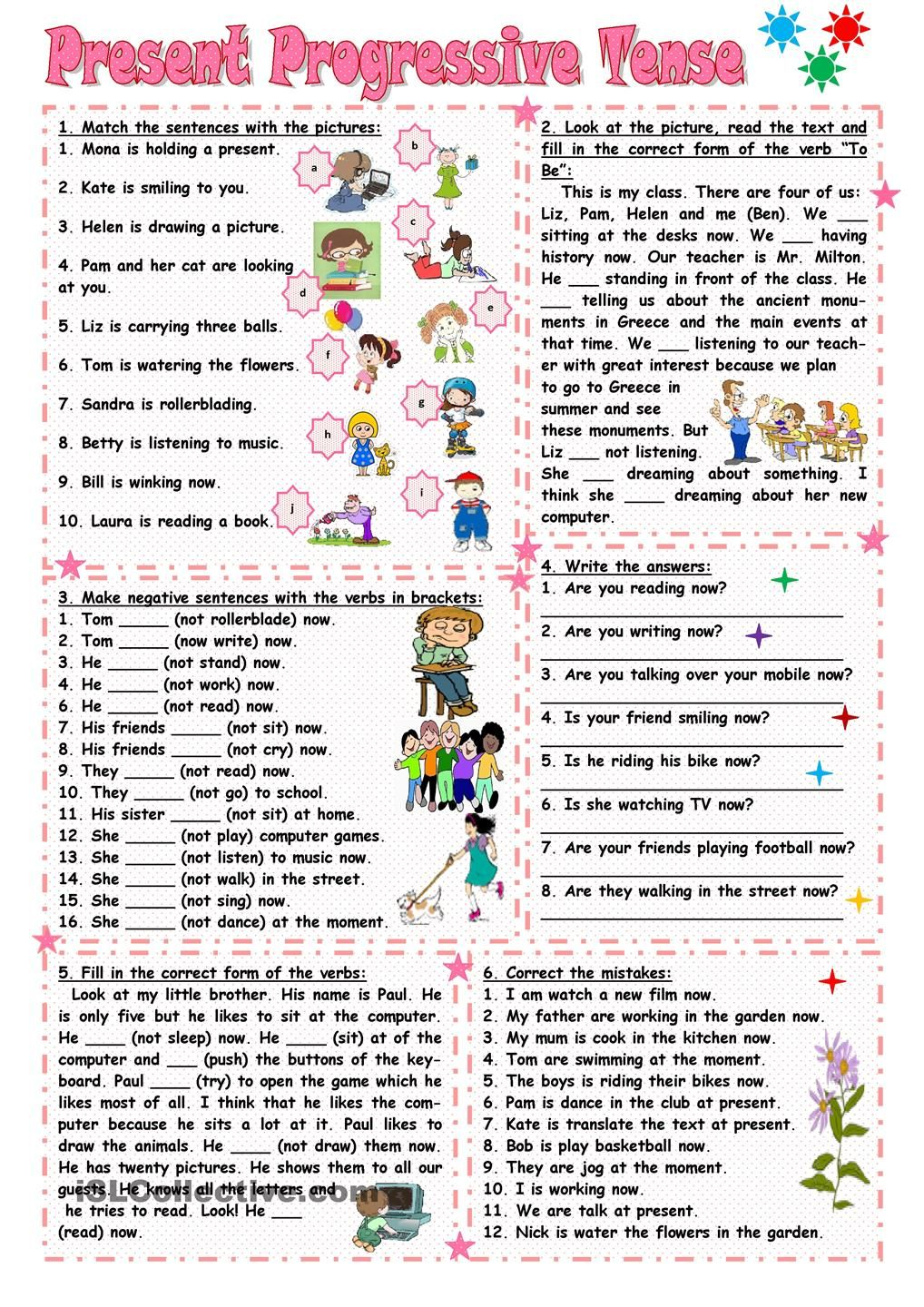 Uncategorized Present Progressive Spanish Worksheet 101 free esl present progressive worksheets