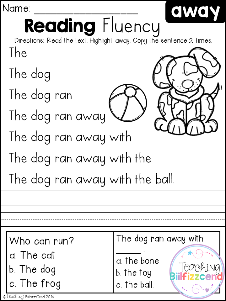 Free Kindergarten Reading Fluency and Comprehension Set 1 | teaching ...