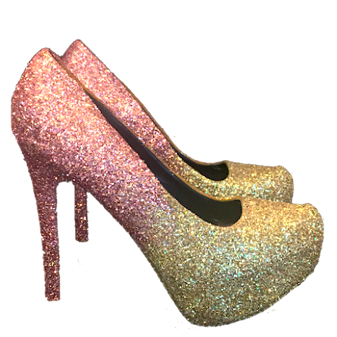 Women S Sparkly Rose Gold Champagne Ombre Glitter High Low Heels Wedding Bride Prom Shoes Low Heels Wedding Prom Shoes Heels