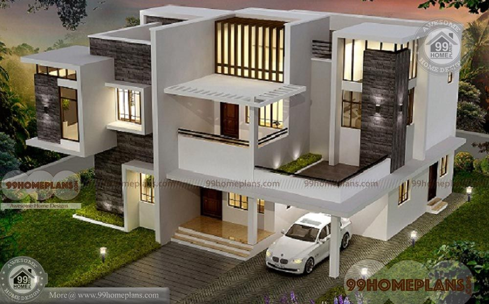 Attractive House Plan Ideas With 3d Elevation 4 Bedroom Kerala Style Contemporary Homes For Sale I House Structure Design 3d House Plans Kerala House Design