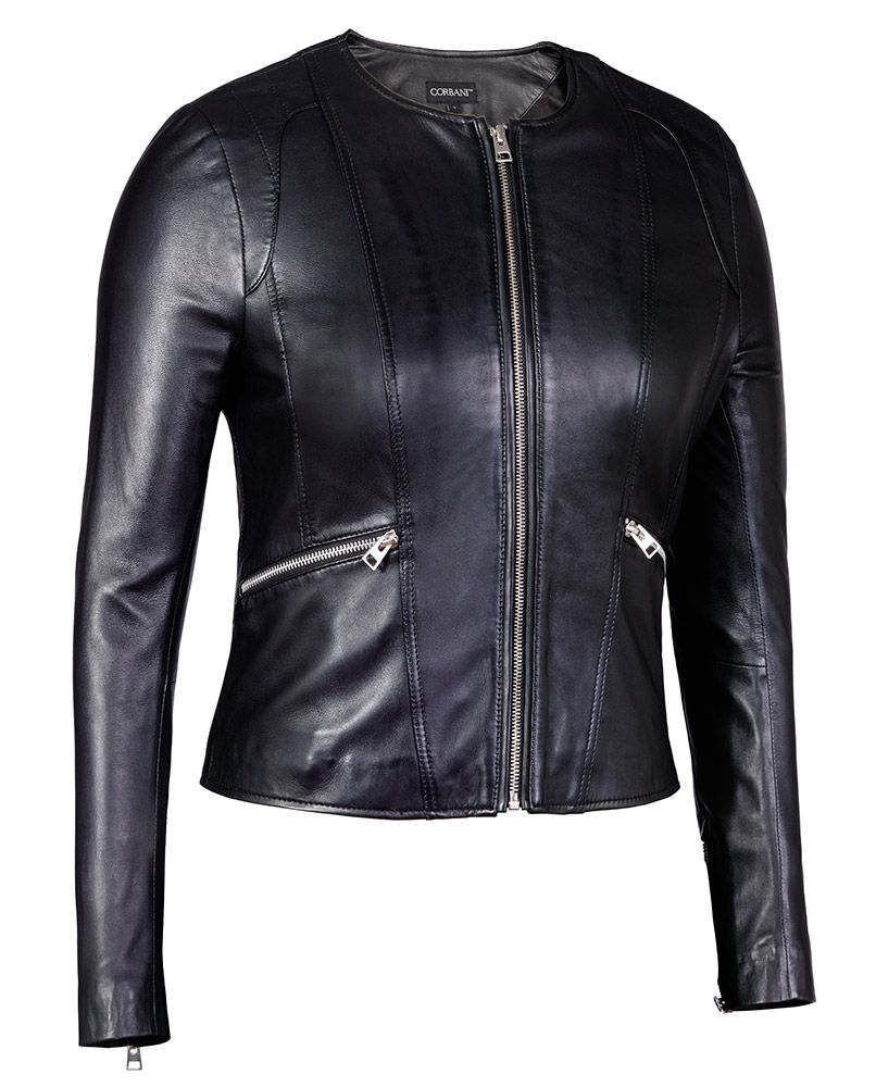 Womens Collarless Round Neck Black Genuine Leather Jacket Lambskin Leather Jacket Style Leather Jackets Women Leather Jacket [ 1000 x 806 Pixel ]