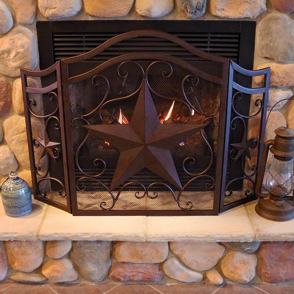 Western Star Fireplace Screen Fireplace Screens Western Bedroom