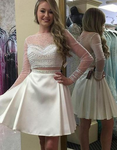Two Piece Long Sleeves Short White Prom Dress with Beading Lace Top ...