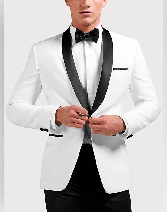 Egara White Slim Fit Dinner Jacket - Men's Sport Coats #bridalshops