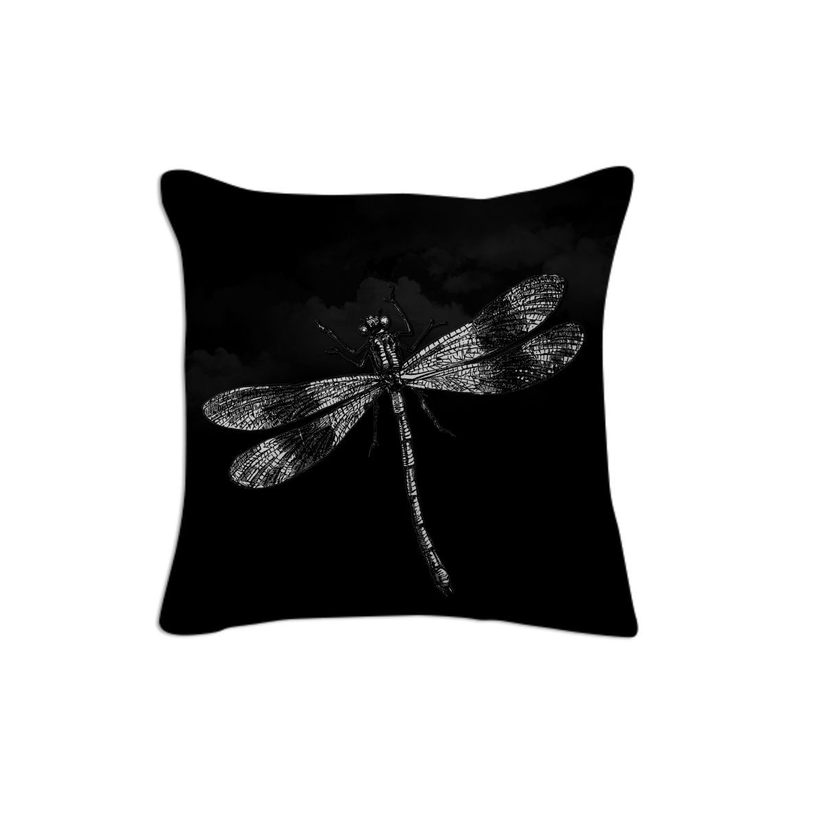 Dragonfly II, Pillow 2 from Print All Over Me  #black #art #vintage #dragonfly #animals #insects #blackandwhite #goth #piaschneider #ateliercolourvision #paom #pillow #cotton #artprint #cushion #home #decor #designerpillow #gift #giftidea
