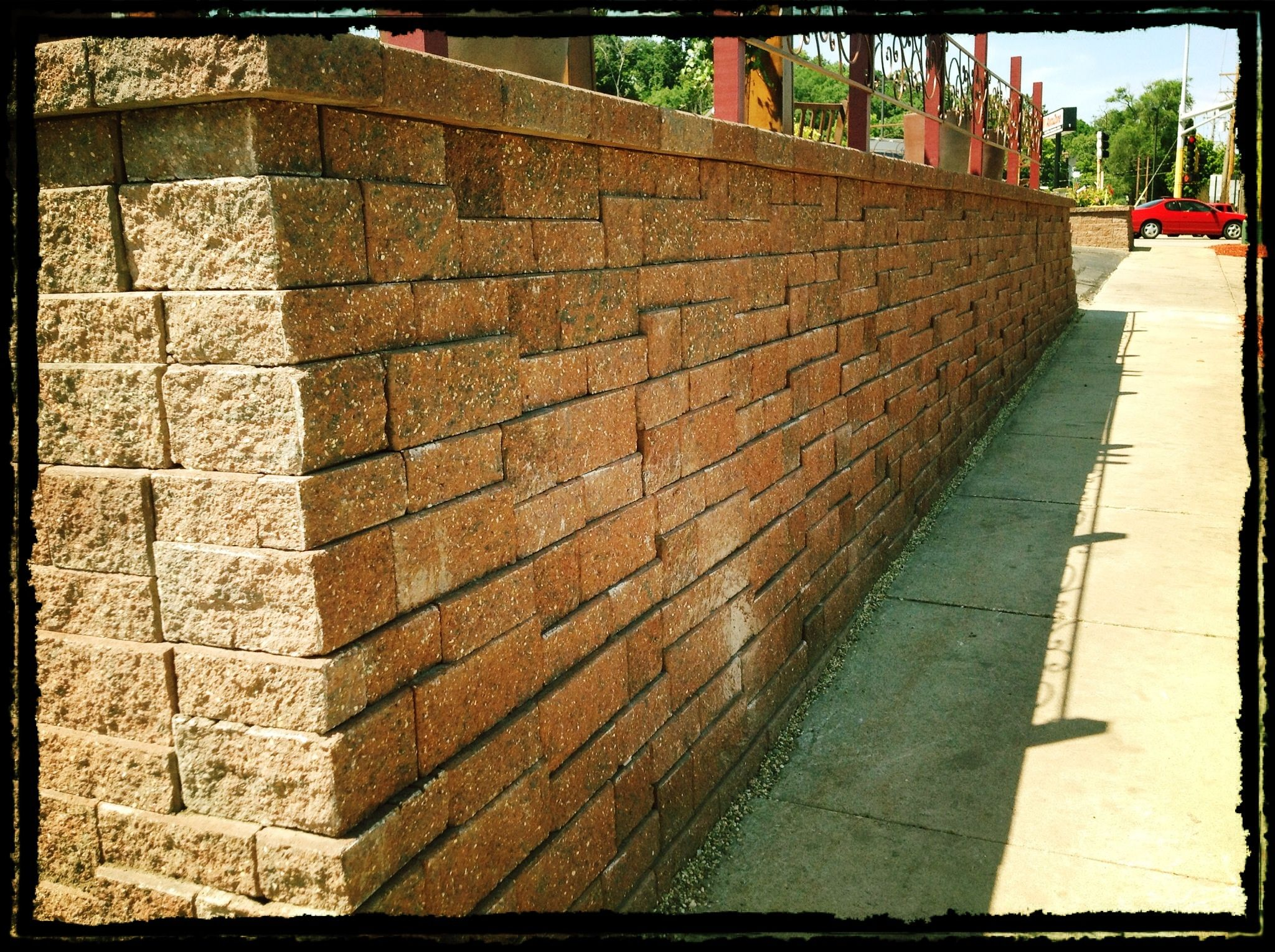 Versa-Lok Mosaic block retaining wall. 6ft tall at the corner ...