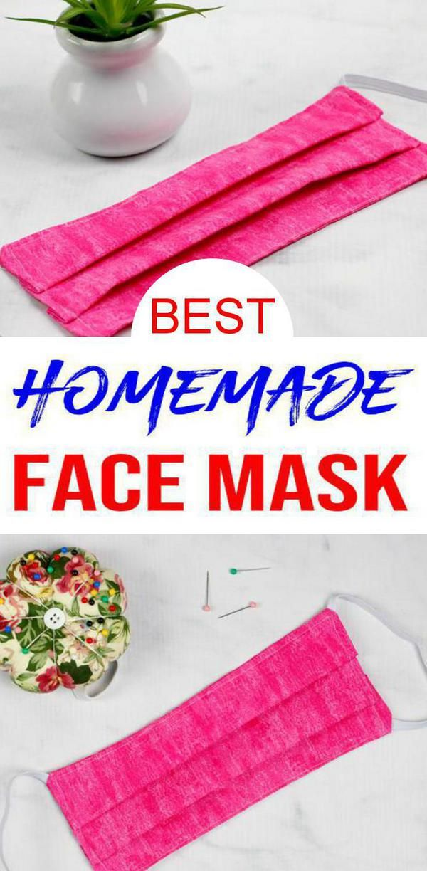 DIY Face Mask - {EASY} BEST Homemade Cloth Fabric Face Mask - How To Make Face Mask Cover - Free Pattern - Sewing - Pleated