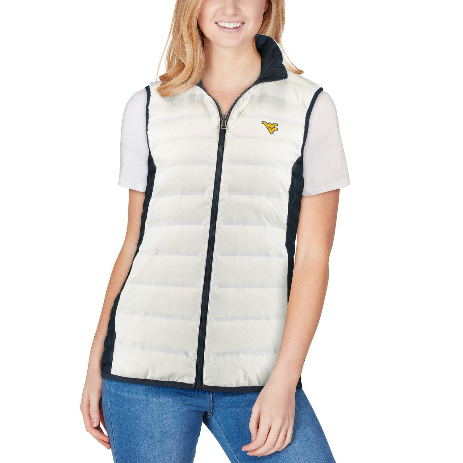 Women's Columbia White/Navy West Virginia Mountaineers Lake 22 Reversible Puffer Vest #westvirginia