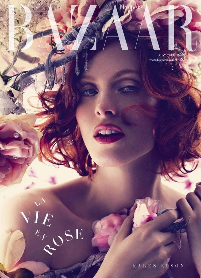 Karen Elson has an ethereal spring look for the May subscribers cover of Harper's Bazaar UK.