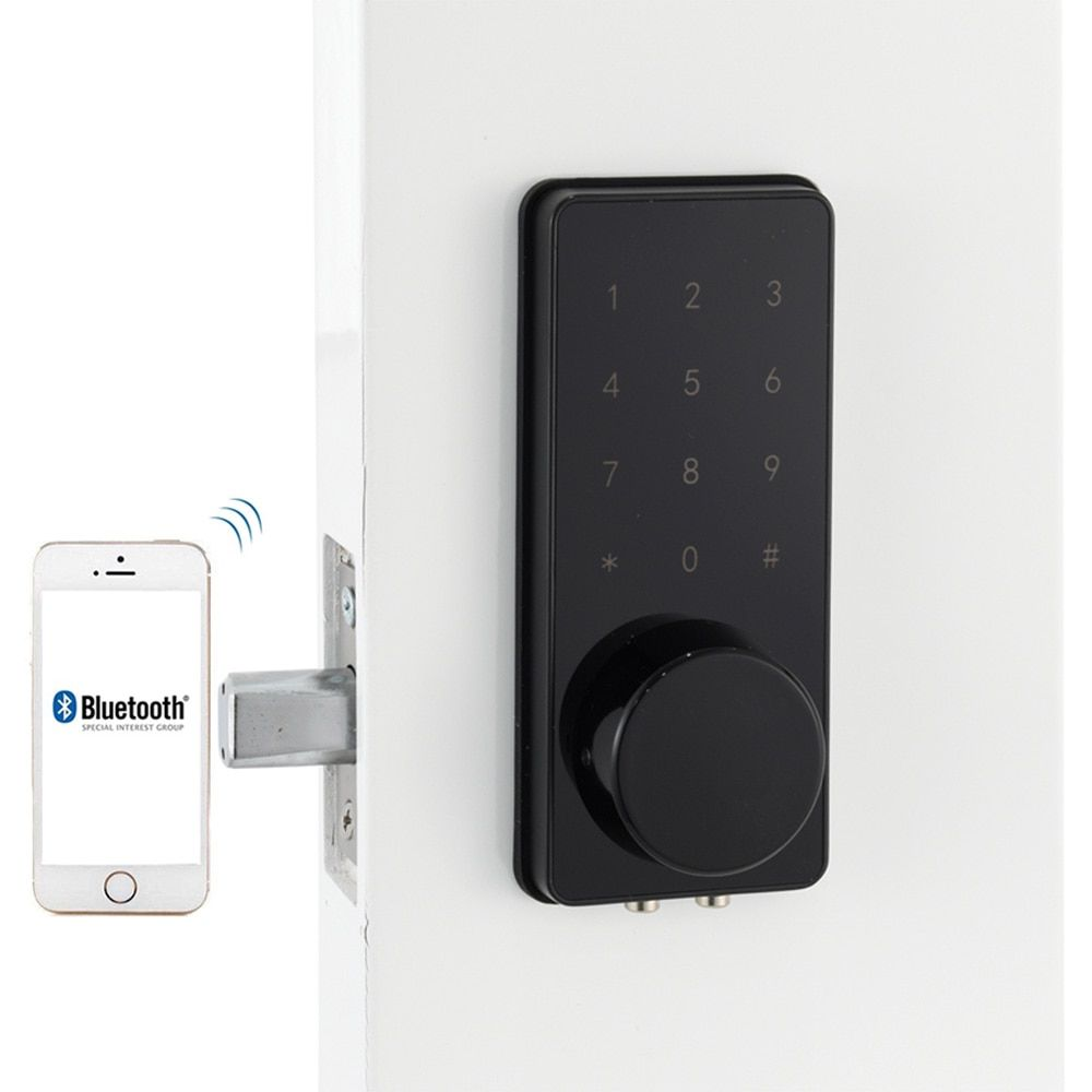 Black home smart bluetooth door lock electronic touch