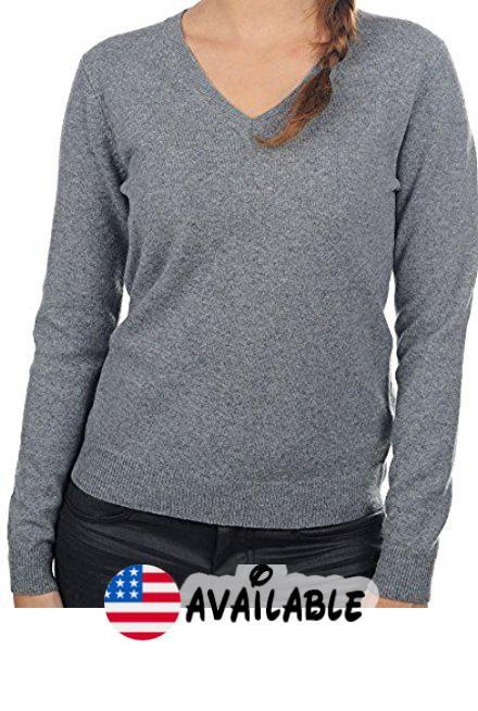 ec7bf8b86035 B01MQ4EH3I   Balldiri 100% Cashmere Kaschmir Damen Pullover 2-fädig V  Ausschnitt mit Bündchen grau XL. Cashmere Sweater Cardigan Bathrobe S…    Sweaters ...