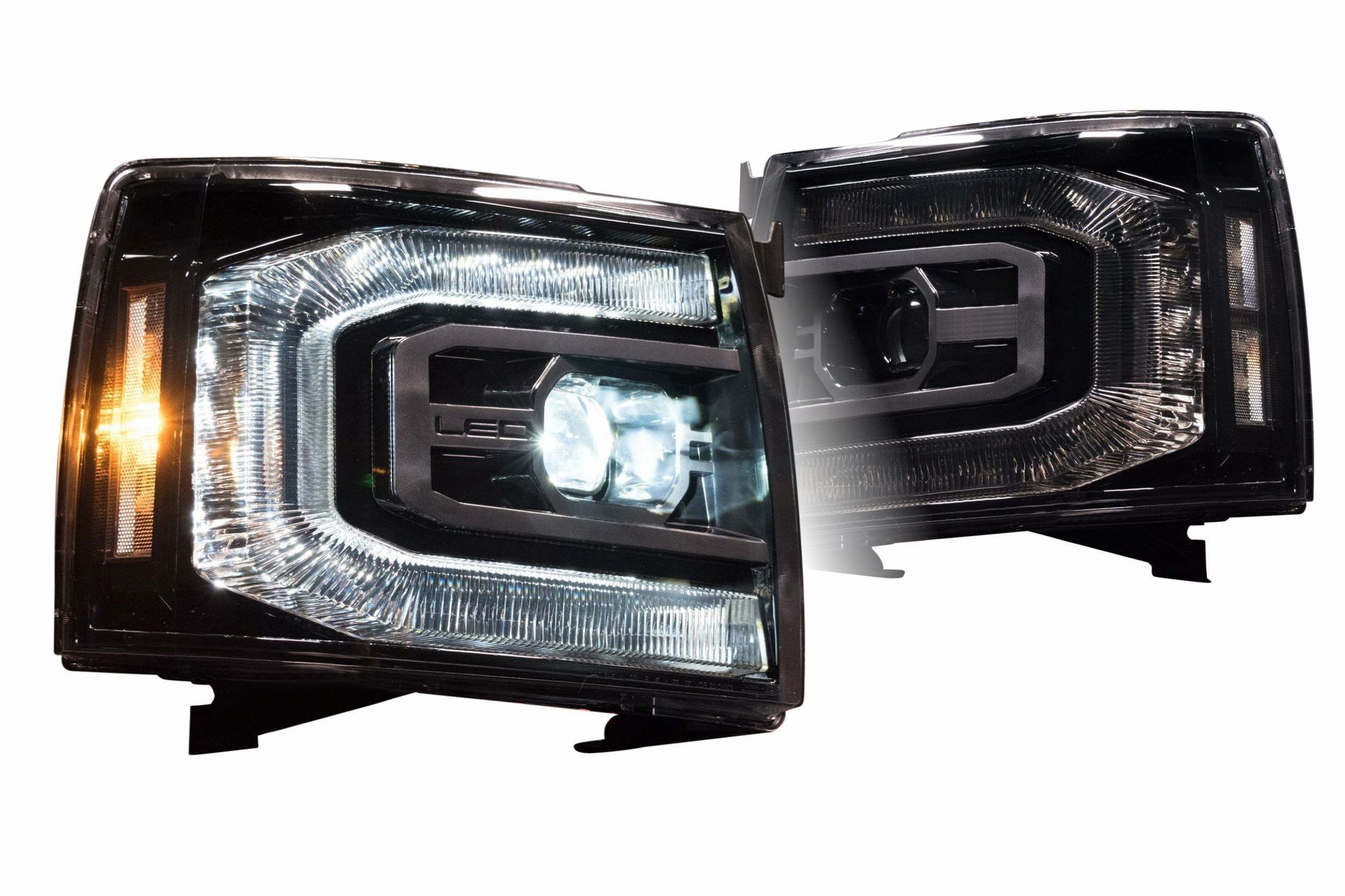 2007 2013 Chevrolet Silverado Xb Led Projector Headlights Complete Led Housings From The Retrofit Source In 2020 Chevrolet Silverado Silverado Led Headlights