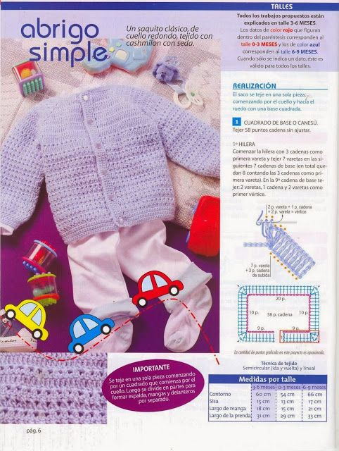 Abrigo Infantil de 3 a 6 meses Tricot-Crochet - Patrones Crochet ...