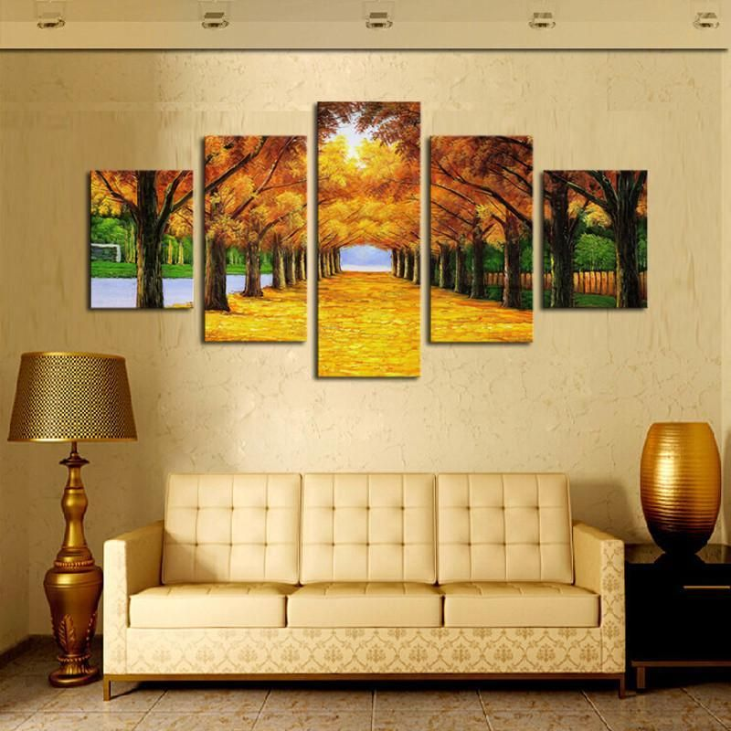 Art Oil Painting 5 Panels Nature Yellow Canvas modern Canvas No ...