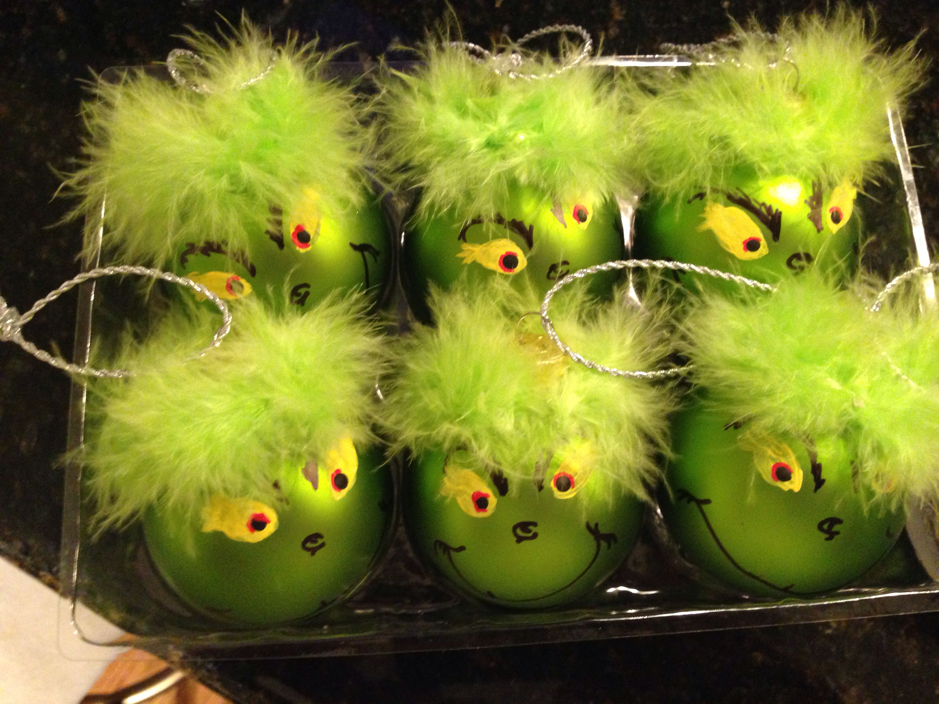 Grinch DIY ornaments lol one feather boa and one box of