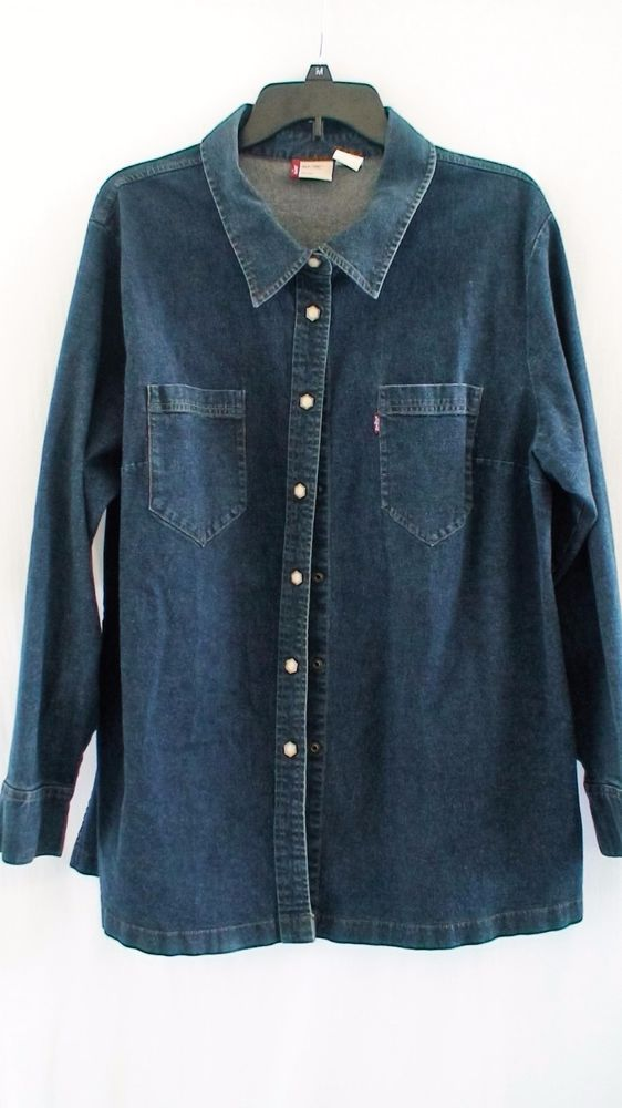 f228264e66 Vintage Levi s Red Tag Snap Button Front Long Sleeve Shirt Men s Size 2X   Levis…
