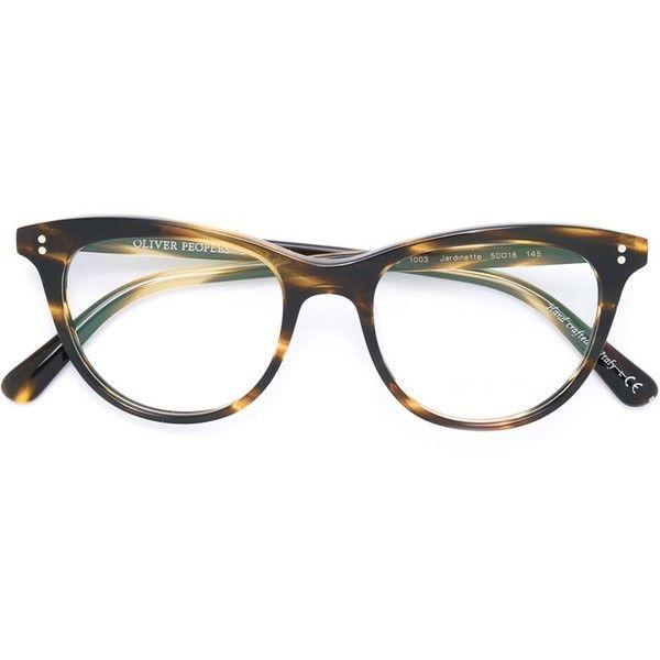 Oliver Peoples Jardinette Glasses ($314) ❤ liked on Polyvore featuring accessories, eyewear, eyeglasses, brown, oliver peoples eyewear, brown glasses, oliver peoples, oliver peoples eye glasses and oliver peoples glasses