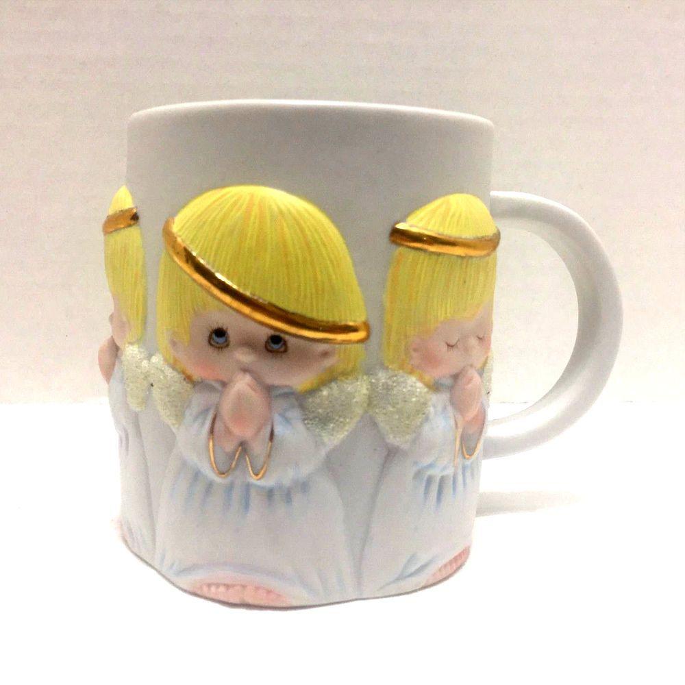 Hallmark 3D Praying Angels Ceramic Coffee Tea Cup Mug  #Hallmark
