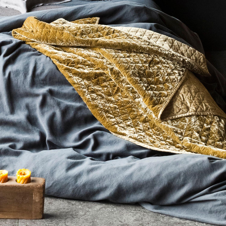 Bella Notte Throw Blanket Silk Velvet Quilted Petal