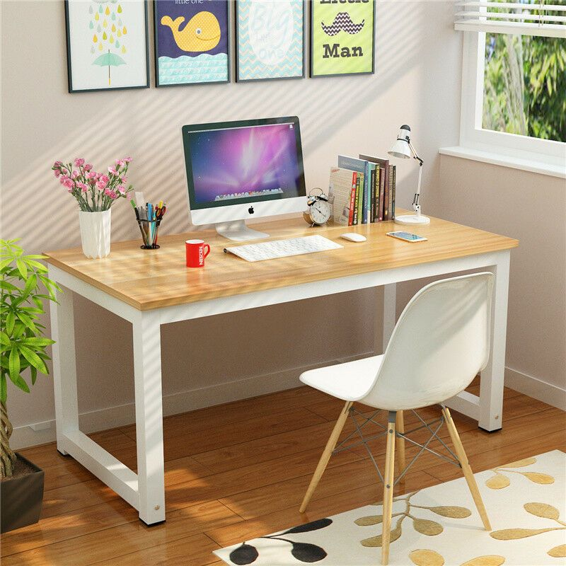 Office Deskorganization: Wood Office Computer Desk PC Laptop Study Write Table