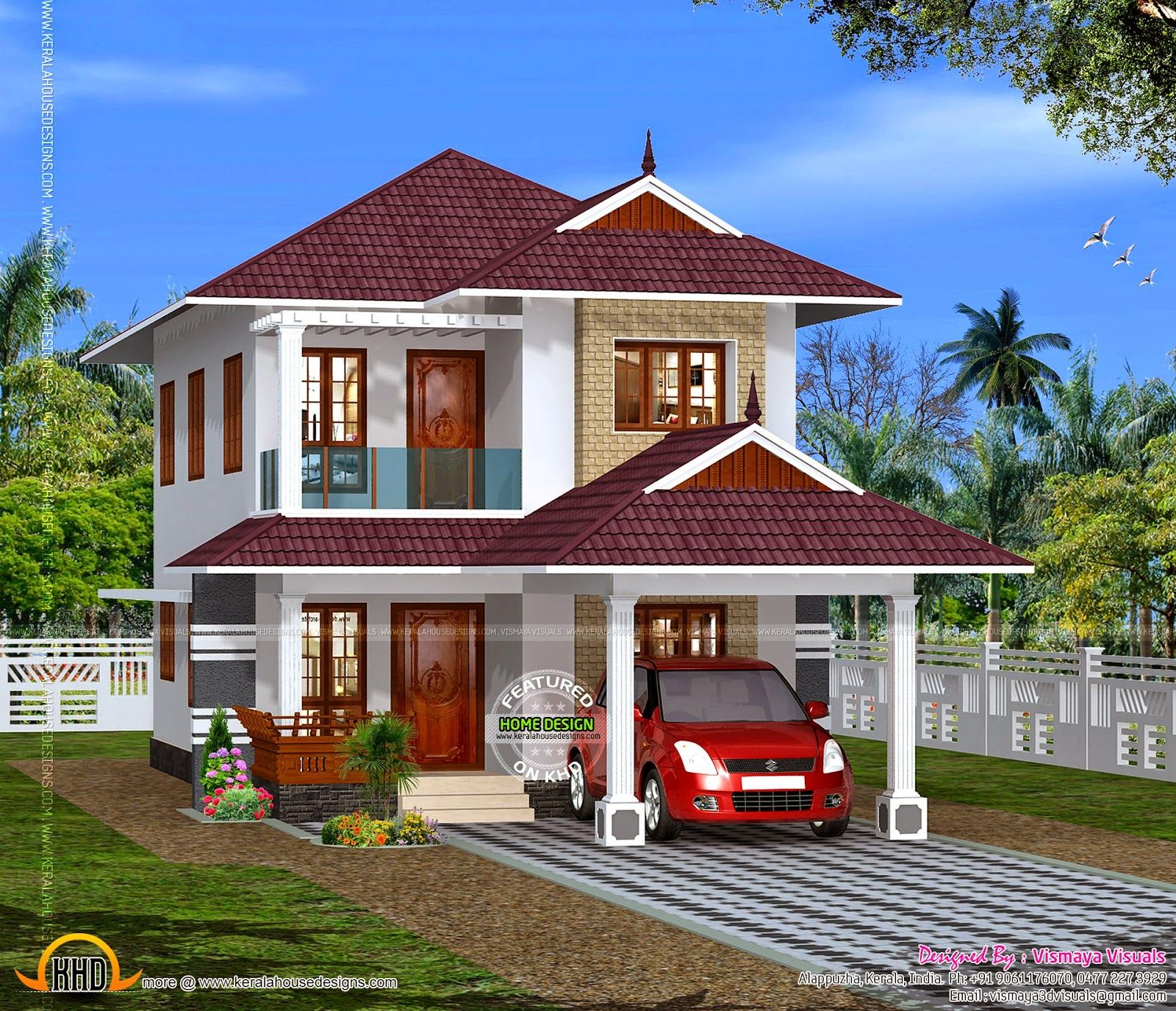 December kerala home design floor plans bedroom modern sq for Small villa plans in kerala