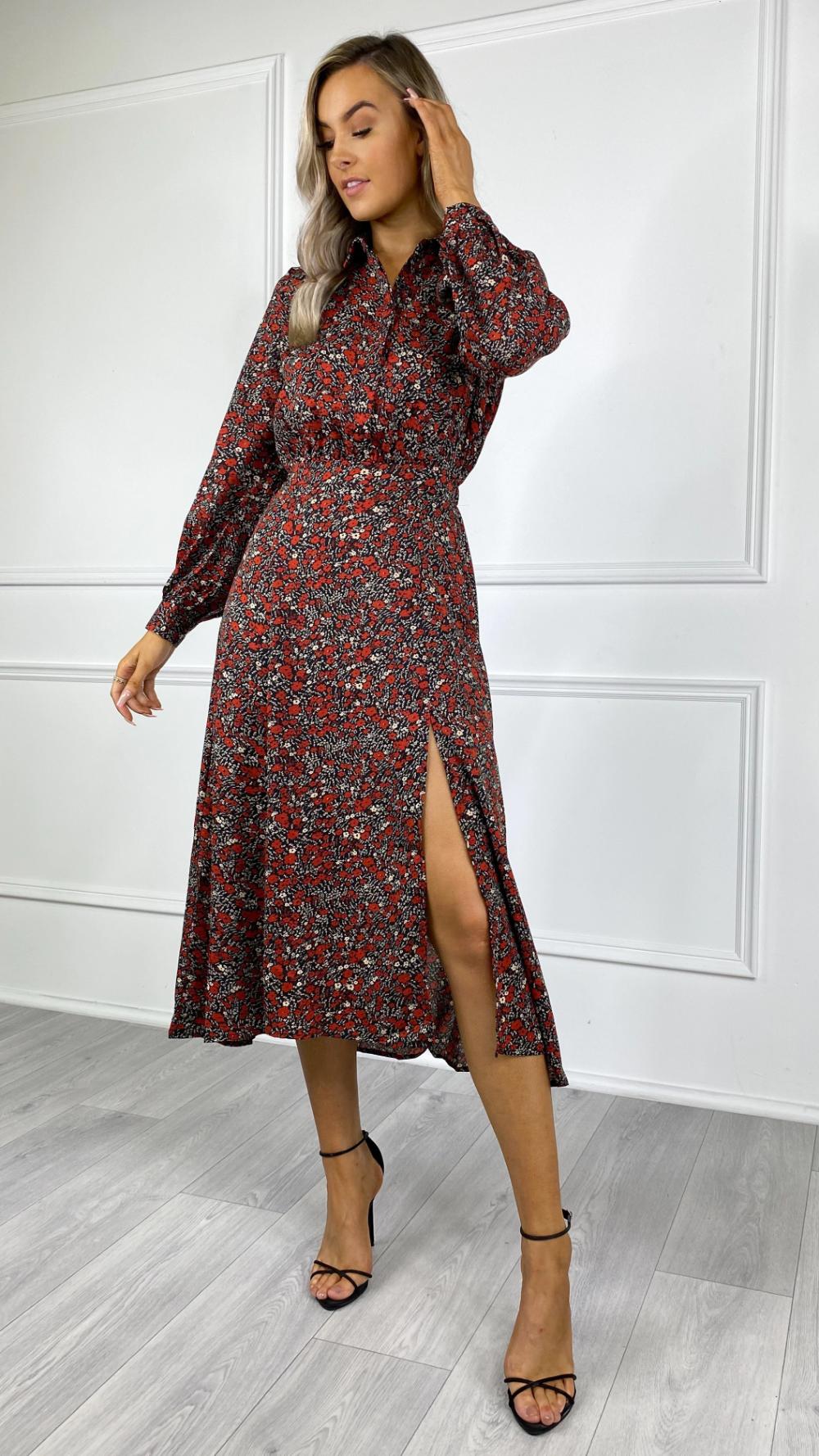 Ingrid Red Printed Button Up Midi Dress Dresses Midi Dress Print Buttons [ 1778 x 1000 Pixel ]