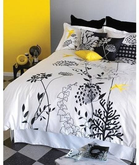 Gray Wall And One Yellow Accent Home Yellow Bedroom Yellow Bedding