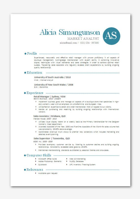 Modern Microsoft Word Resume Template Alicia by Inkpower on Etsy - free resume templates microsoft word download