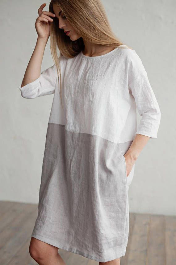 Welp Linnen jurk ADRIA. Kleur blok in witte en grijze jurk voor vrouwen ND-45
